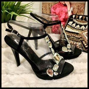 ✨Gorgeous ✨Crystal Black High Heel Shoes🌹